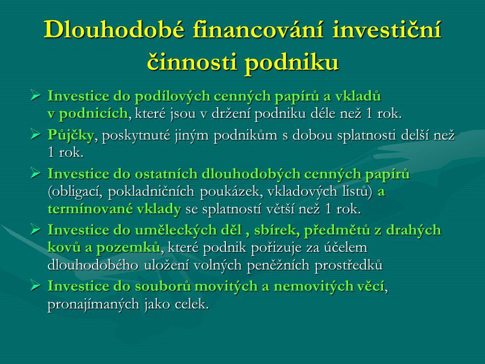 Dlouhodobé financování investiční činnosti podniku  Investice do podílových cenných papírů a vkladů v podnicích, které jsou v držení podniku déle než