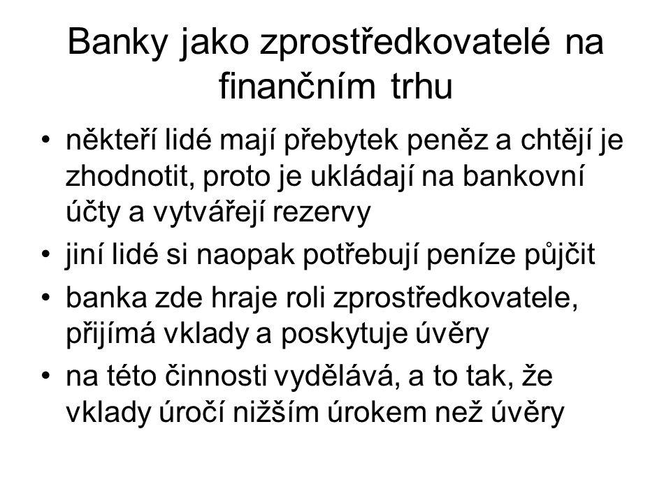 Banky jako zprostředkovatelé na finančním trhu někteří lidé mají přebytek peněz a chtějí je zhodnotit, proto je ukládají na bankovní účty a vytvářejí rezervy jiní lidé si naopak potřebují peníze půjčit banka zde hraje roli zprostředkovatele, přijímá vklady a poskytuje úvěry na této činnosti vydělává, a to tak, že vklady úročí nižším úrokem než úvěry