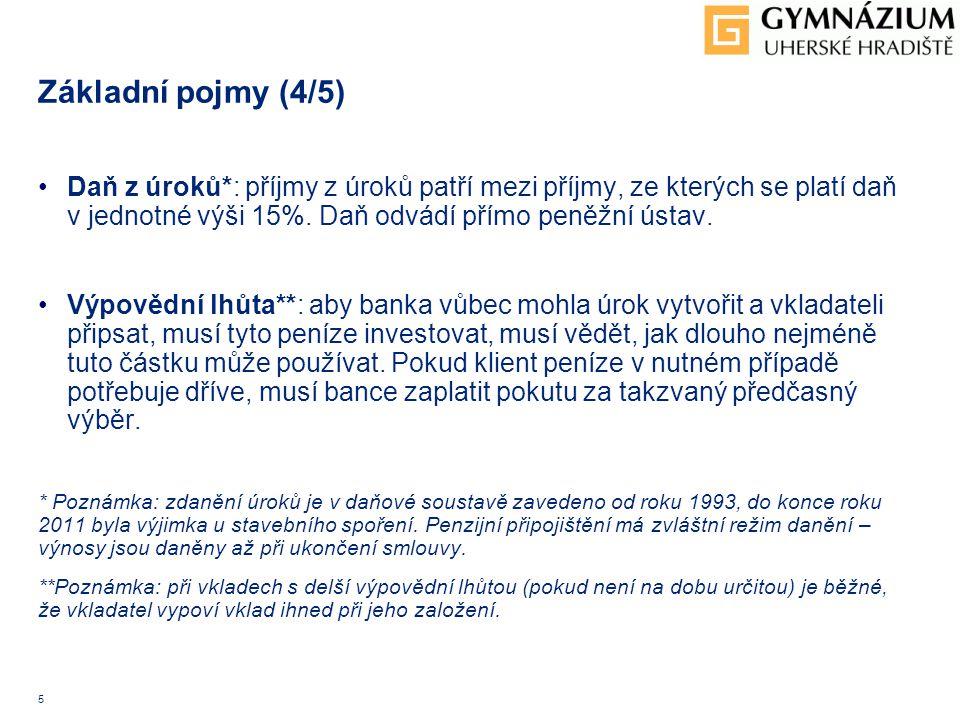 5 Základní pojmy (4/5) Daň z úroků*: příjmy z úroků patří mezi příjmy, ze kterých se platí daň v jednotné výši 15%. Daň odvádí přímo peněžní ústav. Vý