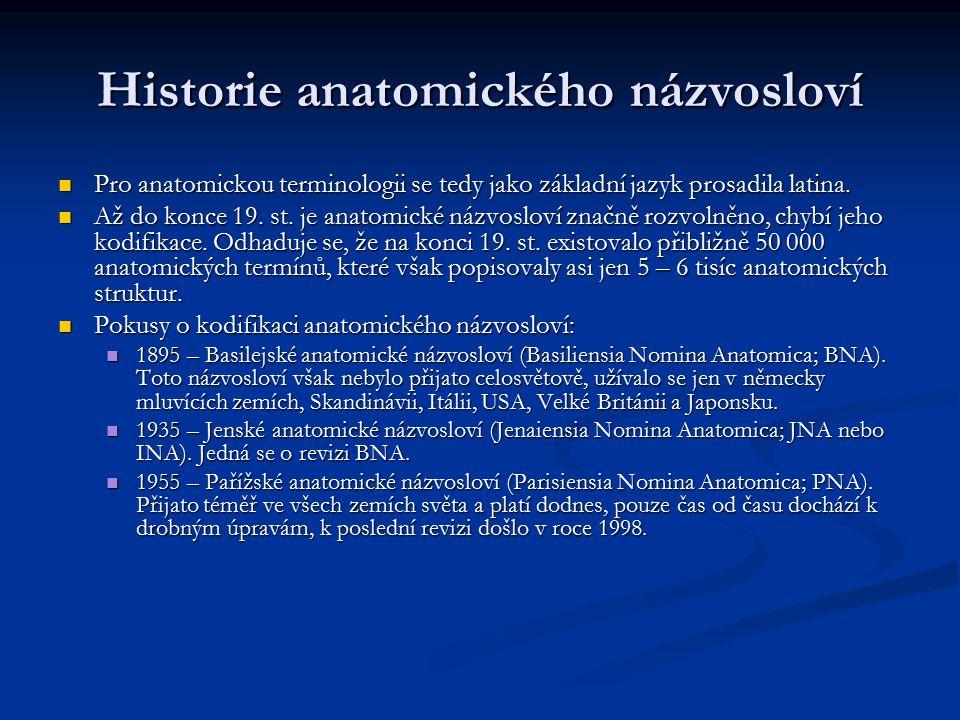 Historie anatomického názvosloví Pro anatomickou terminologii se tedy jako základní jazyk prosadila latina. Pro anatomickou terminologii se tedy jako