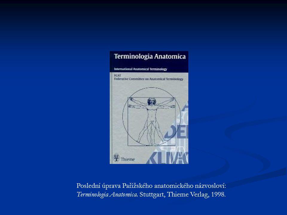 Poslední úprava Pařížského anatomického názvosloví: Terminologia Anatomica. Stuttgart, Thieme Verlag, 1998.