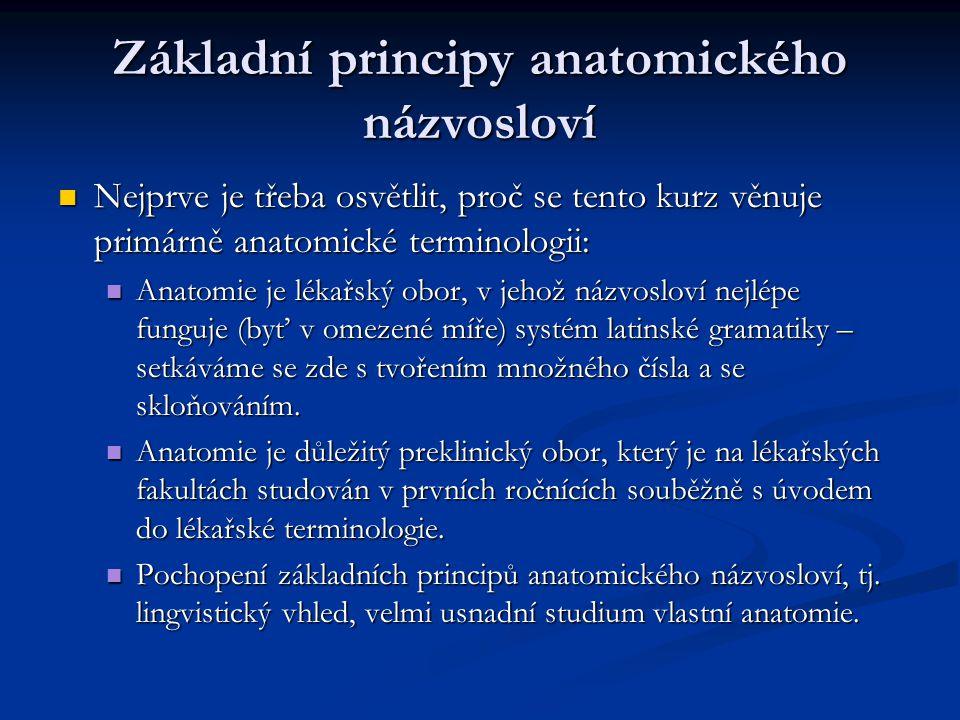 Základní principy anatomického názvosloví Nejprve je třeba osvětlit, proč se tento kurz věnuje primárně anatomické terminologii: Nejprve je třeba osvě