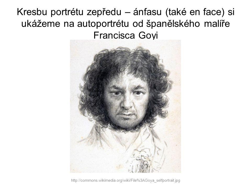 Kresbu portrétu zepředu – ánfasu (také en face) si ukážeme na autoportrétu od španělského malíře Francisca Goyi http://commons.wikimedia.org/wiki/File%3AGoya_selfportrait.jpg