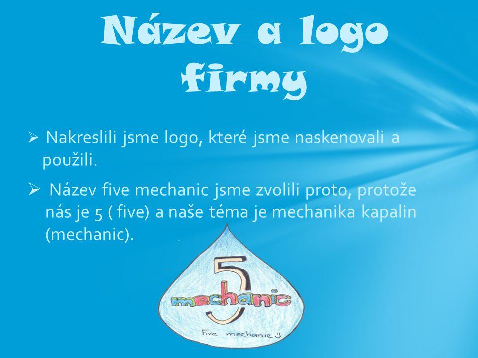  Nakreslili jsme logo, které jsme naskenovali a použili.  Název five mechanic jsme zvolili proto, protože nás je 5 ( five) a naše téma je mechanika