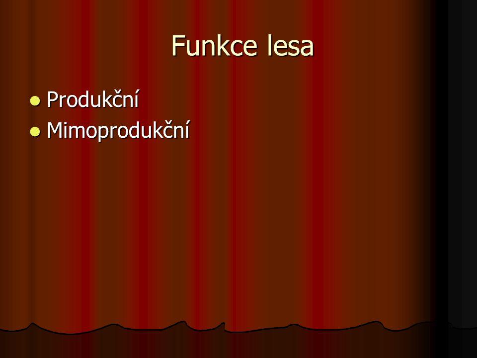 Funkce lesa Funkce lesa Produkční Produkční Mimoprodukční Mimoprodukční