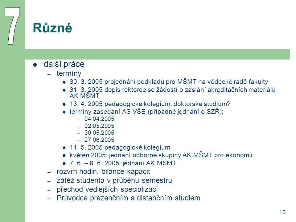 10 Různé další práce – termíny 30.3. 2005 projednání podkladů pro MŠMT na vědecké radě fakulty 31.