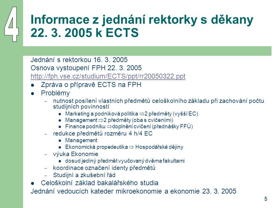 5 Informace z jednání rektorky s děkany 22. 3. 2005 k ECTS Jednání s rektorkou 16.