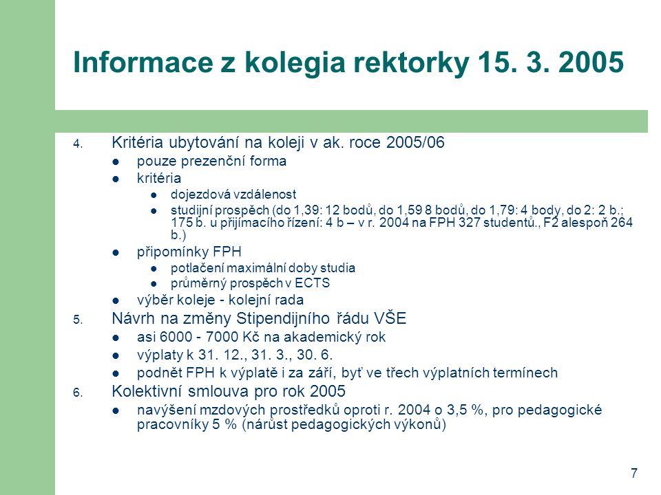 7 Informace z kolegia rektorky 15. 3. 2005 4. Kritéria ubytování na koleji v ak.