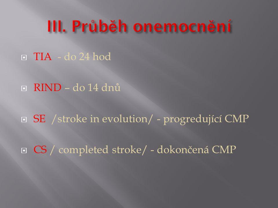  TIA - do 24 hod  RIND – do 14 dnů  SE /stroke in evolution/ - progredující CMP  CS / completed stroke/ - dokončená CMP