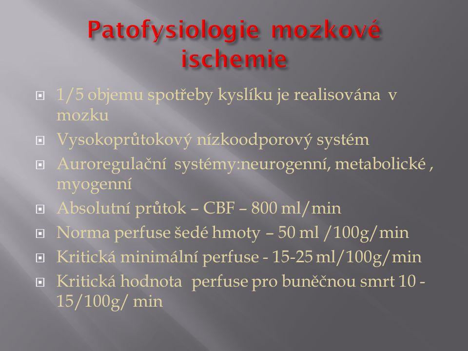  1/5 objemu spotřeby kyslíku je realisována v mozku  Vysokoprůtokový nízkoodporový systém  Auroregulační systémy:neurogenní, metabolické, myogenní  Absolutní průtok – CBF – 800 ml/min  Norma perfuse šedé hmoty – 50 ml /100g/min  Kritická minimální perfuse - 15-25 ml/100g/min  Kritická hodnota perfuse pro buněčnou smrt 10 - 15/100g/ min