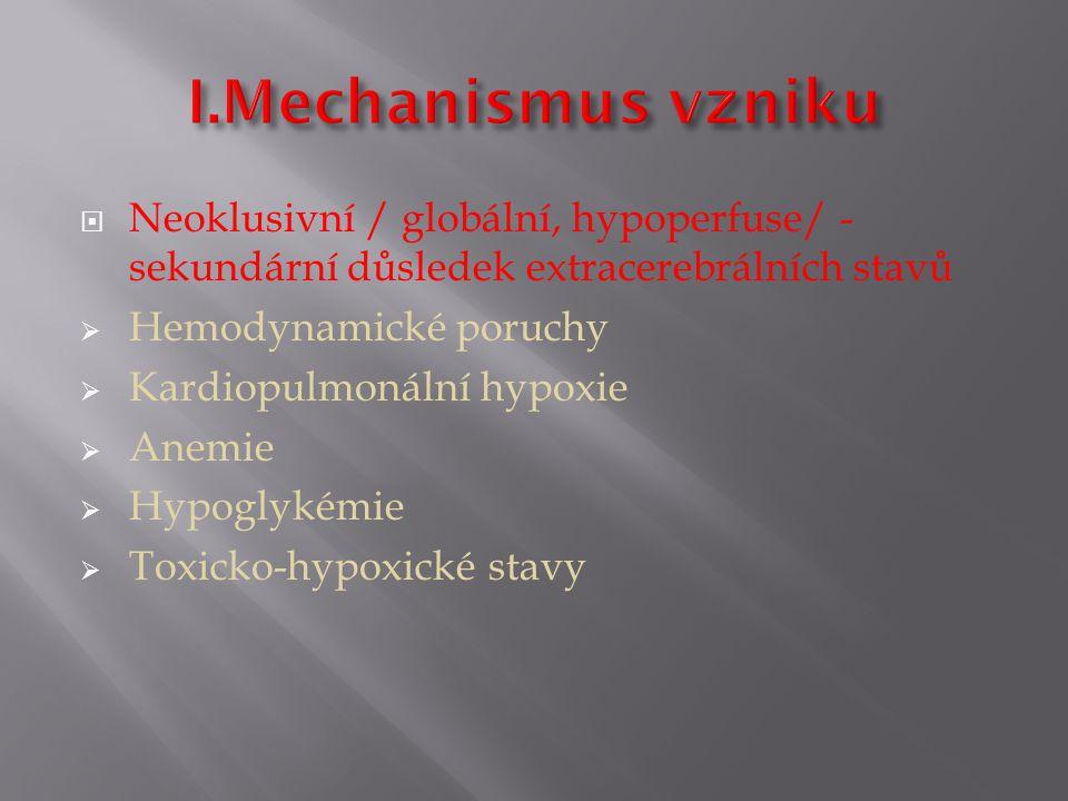  Neoklusivní / globální, hypoperfuse/ - sekundární důsledek extracerebrálních stavů  Hemodynamické poruchy  Kardiopulmonální hypoxie  Anemie  Hypoglykémie  Toxicko-hypoxické stavy