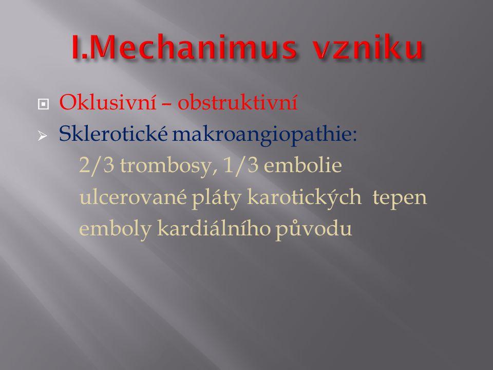  Oklusivní – obstruktivní  Sklerotické makroangiopathie: 2/3 trombosy, 1/3 embolie ulcerované pláty karotických tepen emboly kardiálního původu
