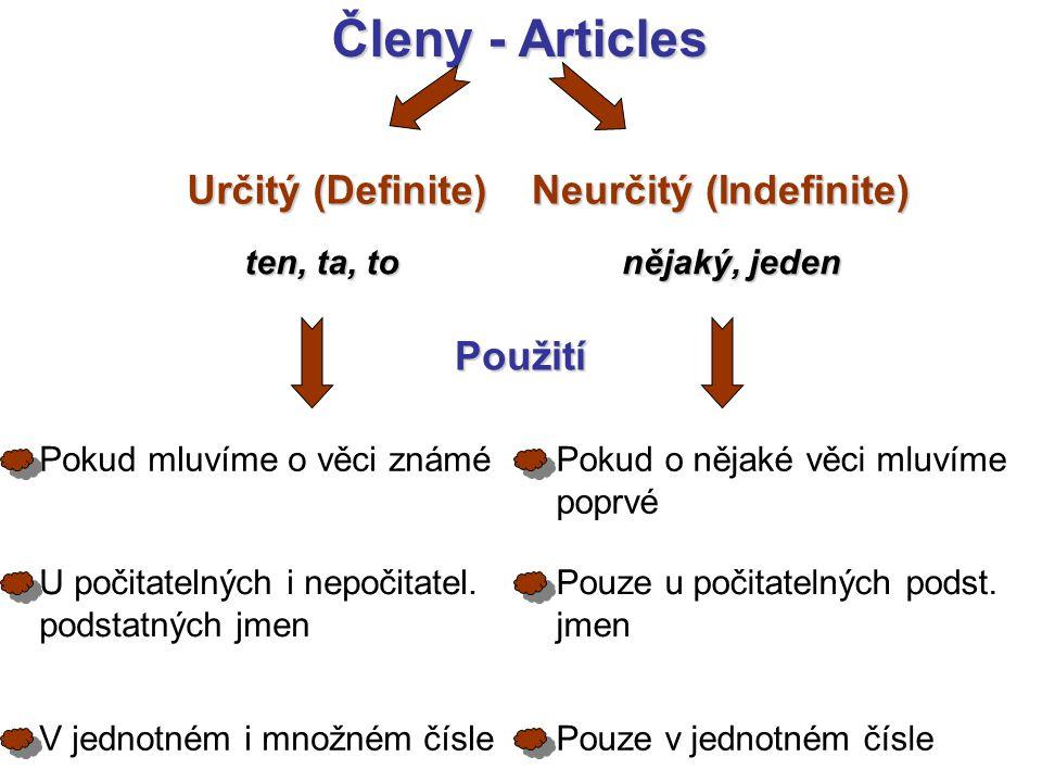 Členy - Articles Určitý (Definite) Neurčitý (Indefinite) nějaký, jeden ten, ta, to Použití Pokud o nějaké věci mluvíme poprvé Pouze u počitatelných podst.