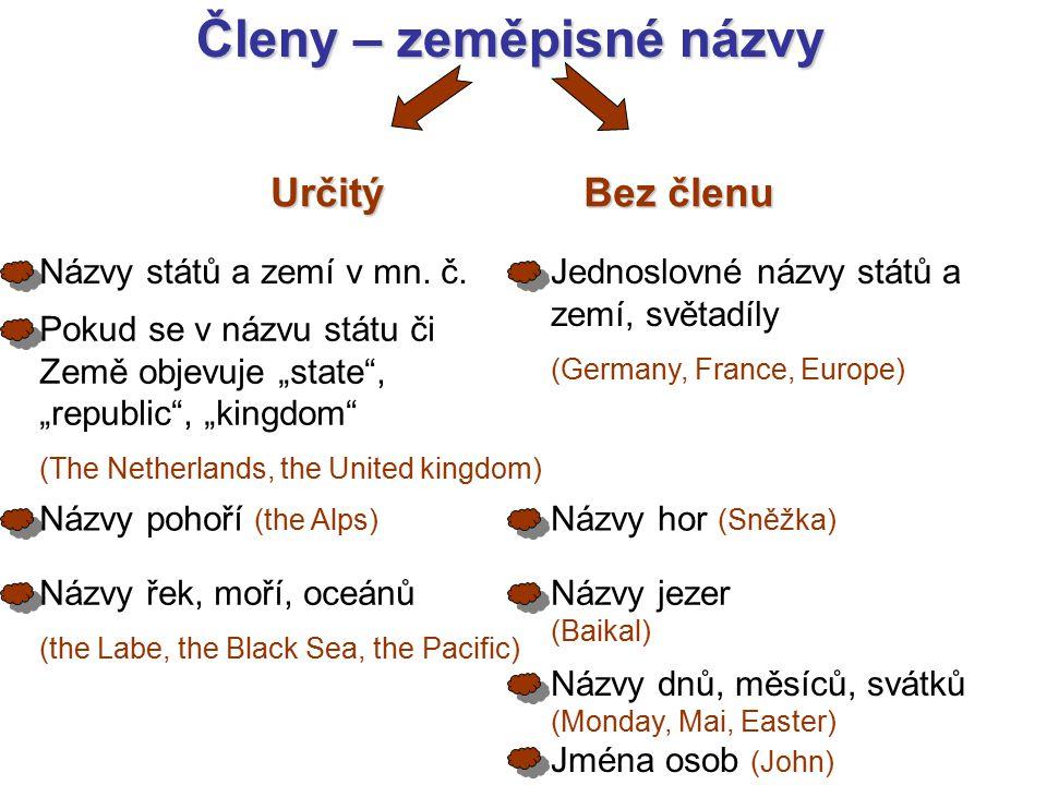 Členy – zeměpisné názvy Určitý Bez členu Názvy států a zemí v mn.