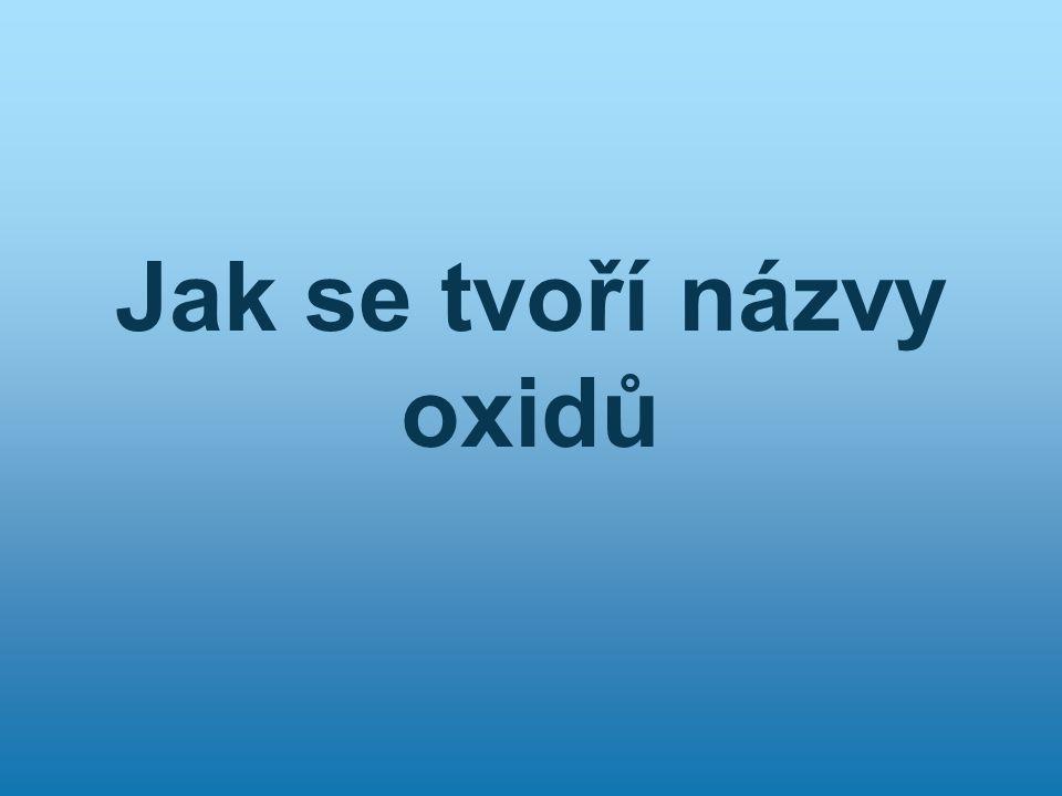 Definice oxidů Jsou dvouprvkové sloučeniny kyslíku s jiným prvkem.