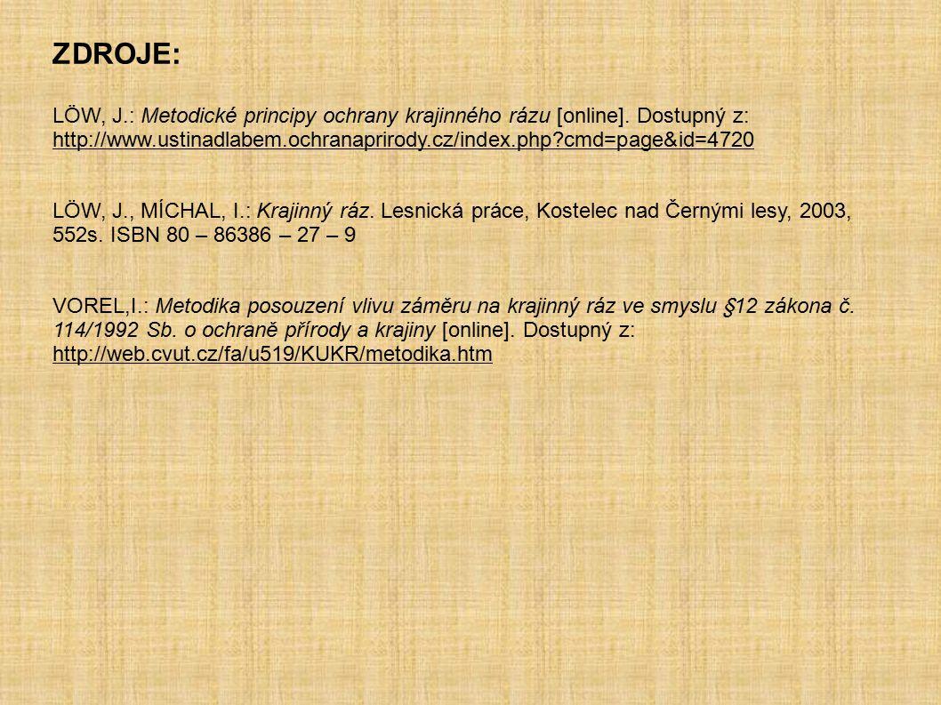 ZDROJE: LÖW, J.: Metodické principy ochrany krajinného rázu [online]. Dostupný z: http://www.ustinadlabem.ochranaprirody.cz/index.php?cmd=page&id=4720