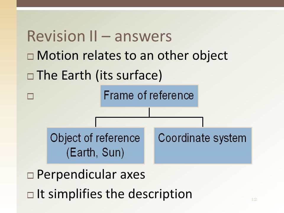 12 Revision II – answers  Motion relates to an other object  The Earth (its surface)   Perpendicular axes  It simplifies the description