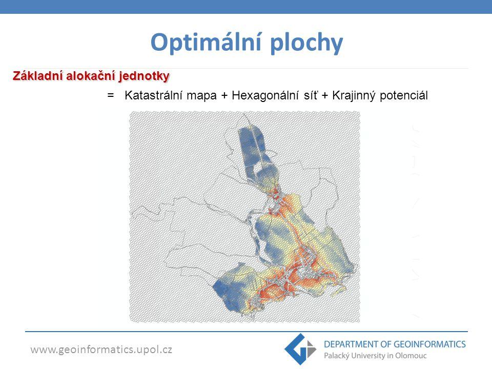 www.geoinformatics.upol.cz Základní alokační jednotky = Katastrální mapa + Hexagonální síť + Krajinný potenciál Optimální plochy