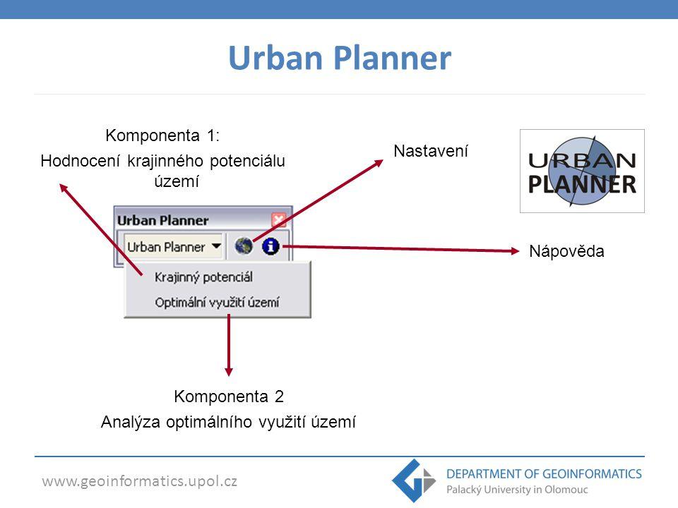 Komponenta 1: Hodnocení krajinného potenciálu území Komponenta 2 Analýza optimálního využití území Nastavení Nápověda Urban Planner