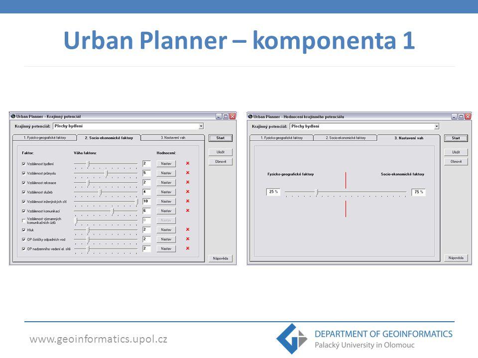 www.geoinformatics.upol.cz Urban Planner – komponenta 2