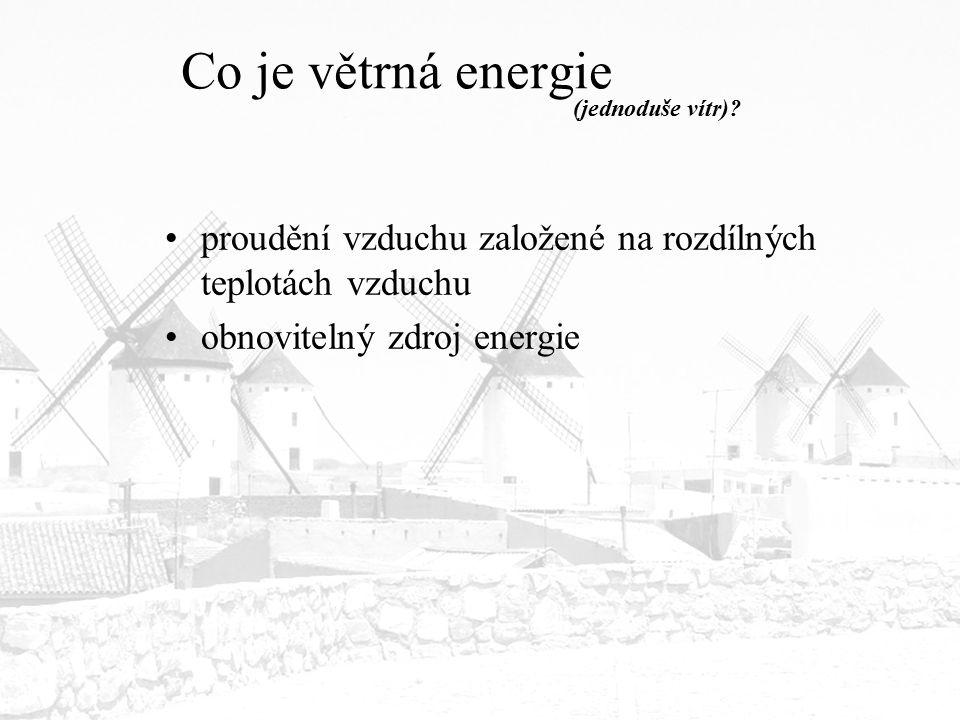 Co je větrná energie proudění vzduchu založené na rozdílných teplotách vzduchu obnovitelný zdroj energie (jednoduše vítr)?