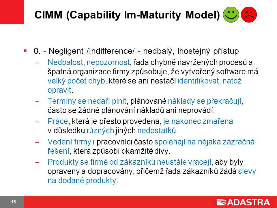 16 CIMM (Capability Im-Maturity Model)  0. - Negligent /Indifference/ - nedbalý, lhostejný přístup ̶ Nedbalost, nepozornost, řada chybně navržených p