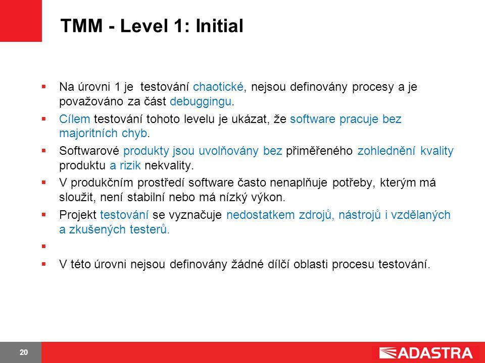 20 TMM - Level 1: Initial  Na úrovni 1 je testování chaotické, nejsou definovány procesy a je považováno za část debuggingu.  Cílem testování tohoto