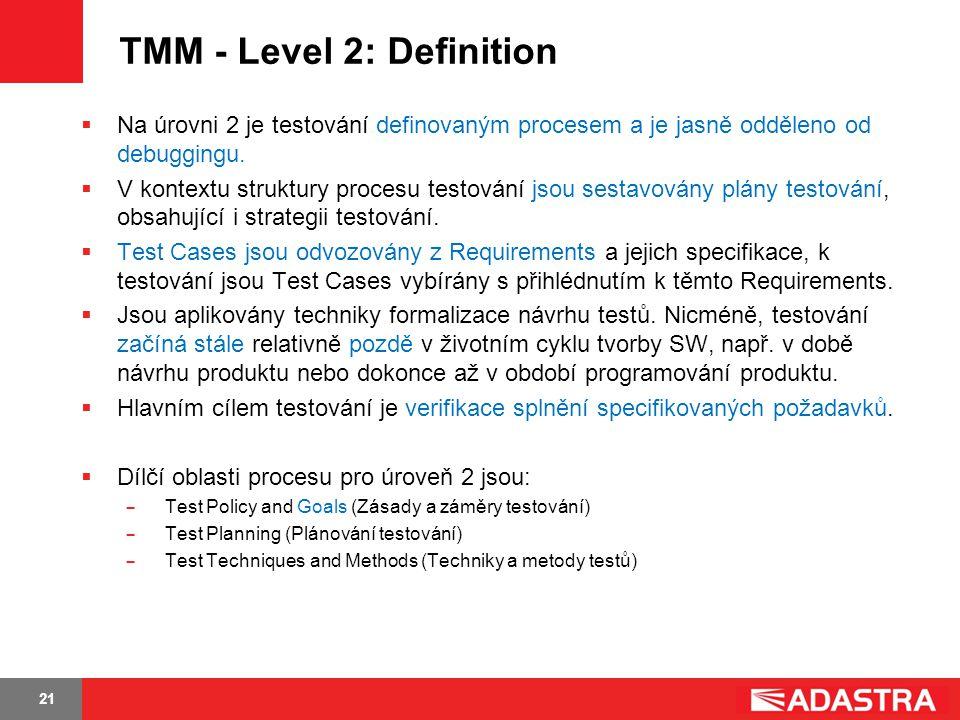 21 TMM - Level 2: Definition  Na úrovni 2 je testování definovaným procesem a je jasně odděleno od debuggingu.  V kontextu struktury procesu testová