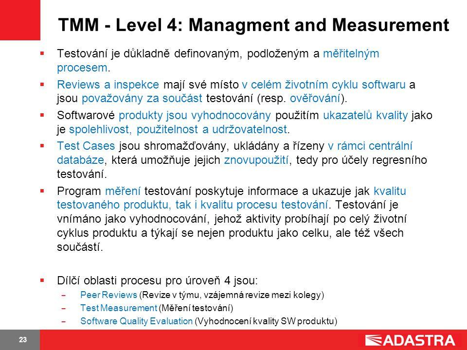 23 TMM - Level 4: Managment and Measurement  Testování je důkladně definovaným, podloženým a měřitelným procesem.  Reviews a inspekce mají své místo