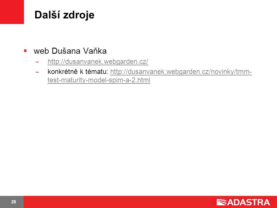 25 Další zdroje  web Dušana Vaňka ̶ http://dusanvanek.webgarden.cz/ http://dusanvanek.webgarden.cz/ ̶ konkrétně k tématu: http://dusanvanek.webgarden