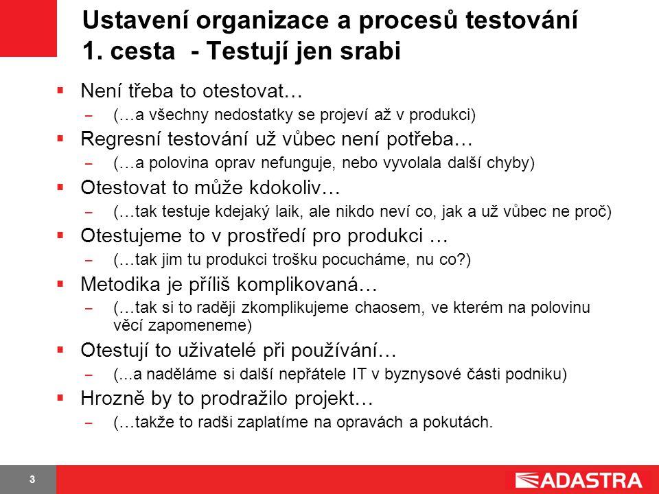 3 Ustavení organizace a procesů testování 1. cesta - Testují jen srabi  Není třeba to otestovat… ̶ (…a všechny nedostatky se projeví až v produkci) 