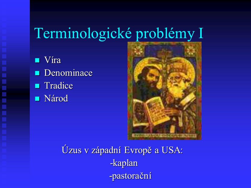 Terminologické problémy I Víra Víra Denominace Denominace Tradice Tradice Národ Národ Úzus v západní Evropě a USA: Úzus v západní Evropě a USA: -kapla