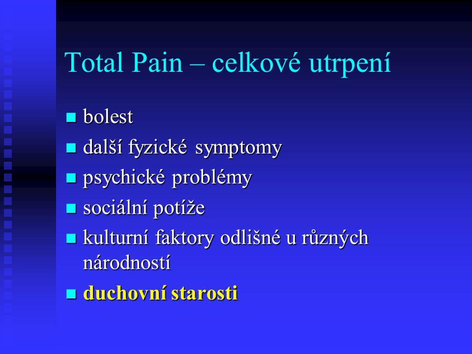 Total Pain – celkové utrpení bolest bolest další fyzické symptomy další fyzické symptomy psychické problémy psychické problémy sociální potíže sociáln