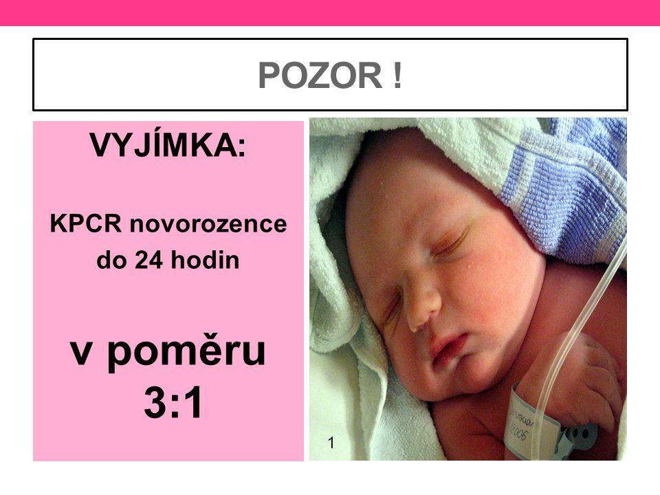 POZOR ! © Andrea Ptáčková VYJÍMKA: KPCR novorozence do 24 hodin v poměru 3:1 1