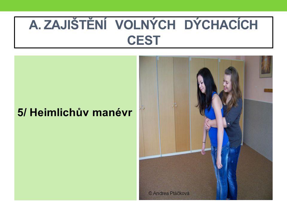 A. ZAJIŠTĚNÍ VOLNÝCH DÝCHACÍCH CEST 5/ Heimlichův manévr © Andrea Ptáčková