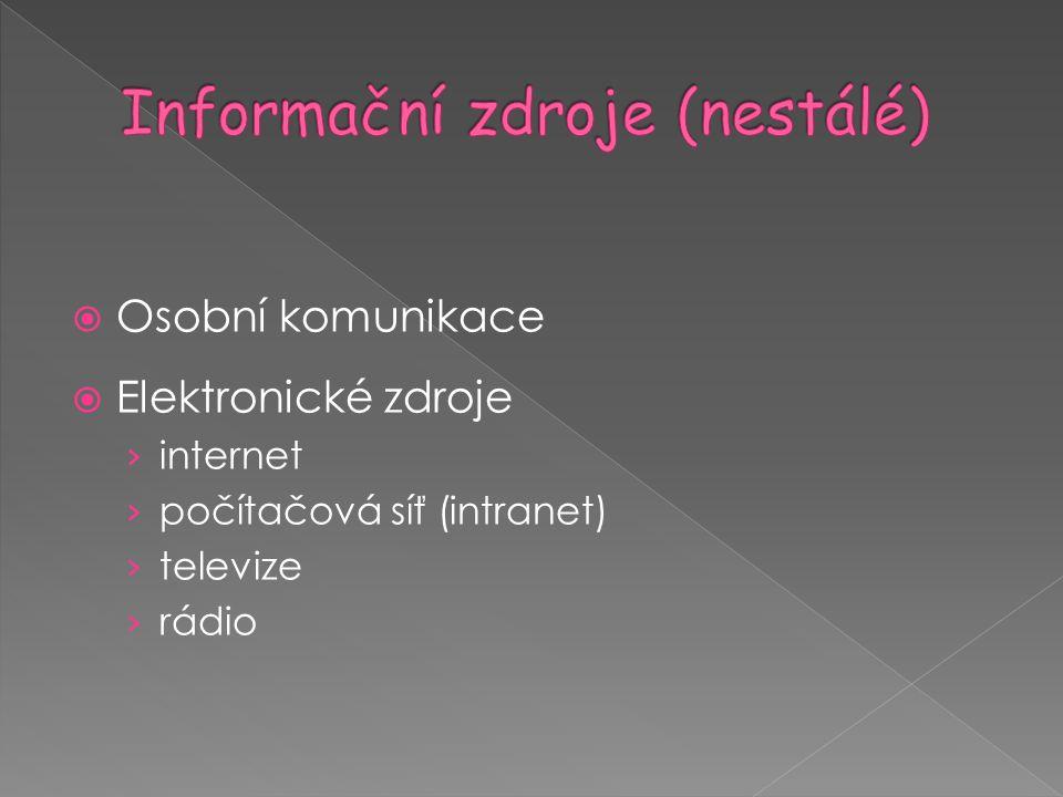  Osobní komunikace  Elektronické zdroje › internet › počítačová síť (intranet) › televize › rádio