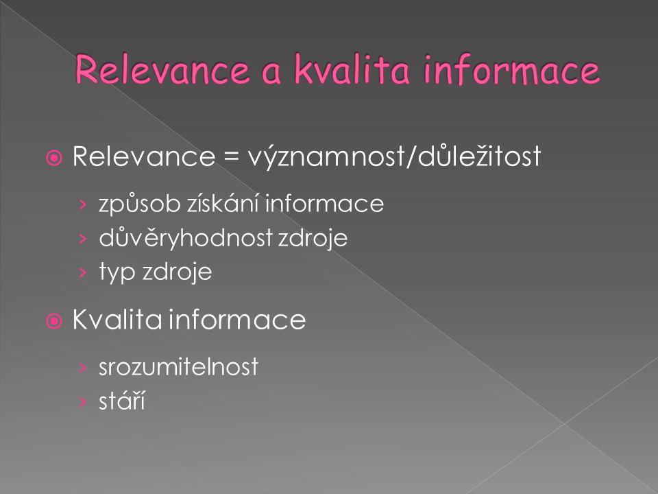  Relevance = významnost/důležitost › způsob získání informace › důvěryhodnost zdroje › typ zdroje  Kvalita informace › srozumitelnost › stáří