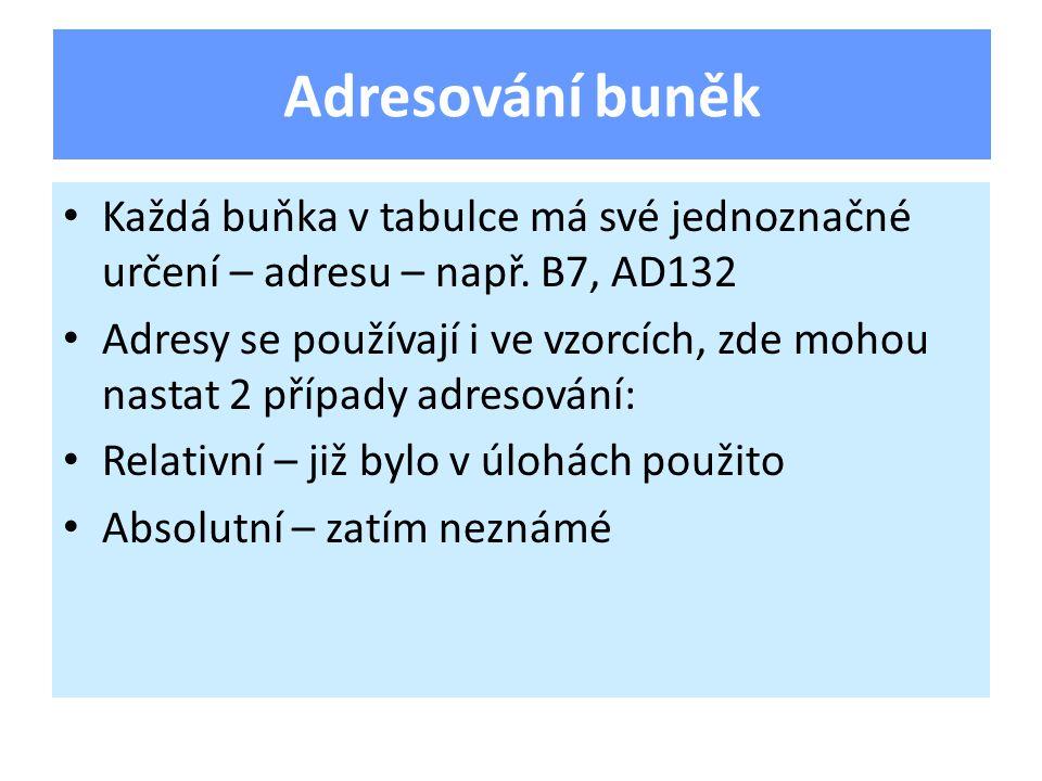 Každá buňka v tabulce má své jednoznačné určení – adresu – např.