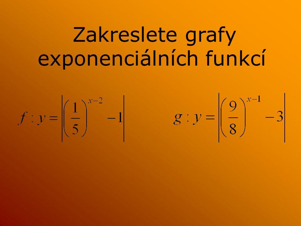 Zakreslete grafy exponenciálních funkcí