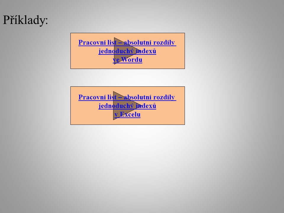 Příklady: Pracovní list – absolutní rozdíly jednoduchý indexů ve Wordu Pracovní list – absolutní rozdíly jednoduchý indexů v Excelu
