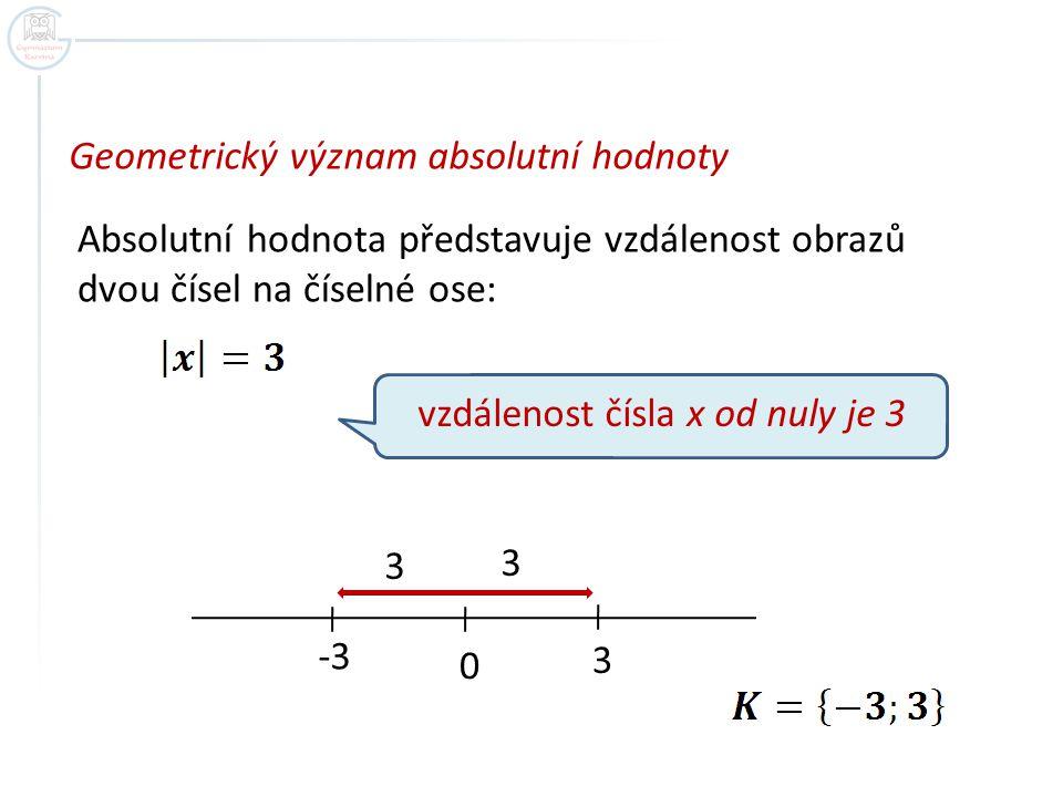 Geometrický význam absolutní hodnoty Absolutní hodnota představuje vzdálenost obrazů dvou čísel na číselné ose: vzdálenost čísla x od nuly je 3 0 3 3 3 -3