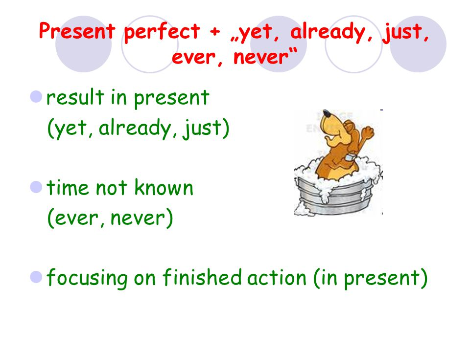 "Present perfect + ""yet, already, just, ever, never"" result in present (yet, already, just) time not known (ever, never) focusing on finished action (i"