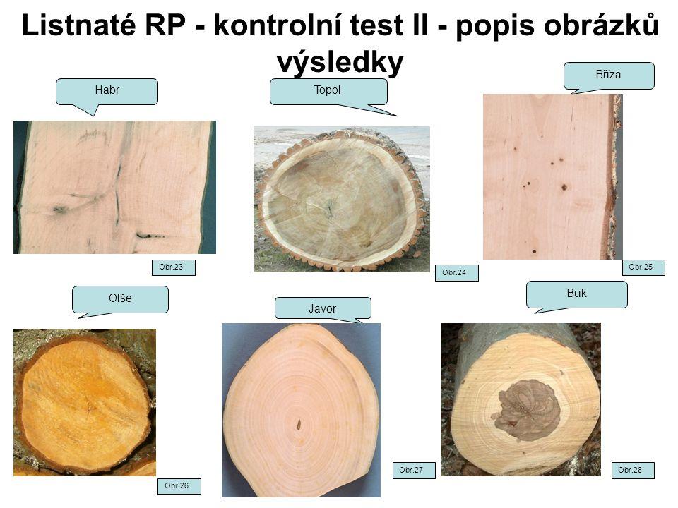 Listnaté RP - kontrolní test II - popis obrázků výsledky Habr Topol Bříza Olše Buk Javor Obr.24 Obr.25 Obr.28 Obr.26 Obr.27 Obr.23