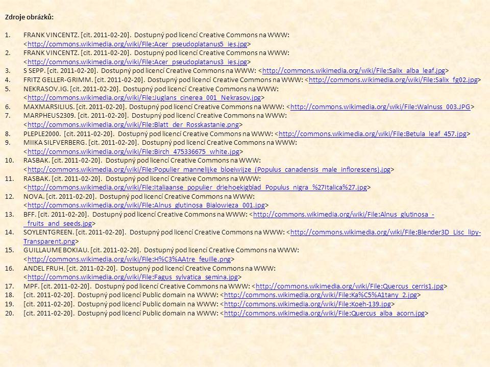 Zdroje obrázků: 1.FRANK VINCENTZ. [cit. 2011-02-20]. Dostupný pod licencí Creative Commons na WWW: http://commons.wikimedia.org/wiki/File:Acer_pseudop