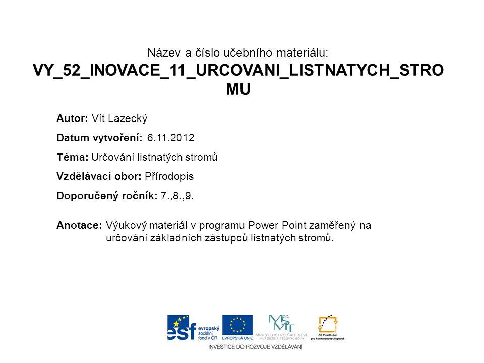 Název a číslo učebního materiálu: VY_52_INOVACE_11_URCOVANI_LISTNATYCH_STRO MU Anotace:Výukový materiál v programu Power Point zaměřený na určování zá