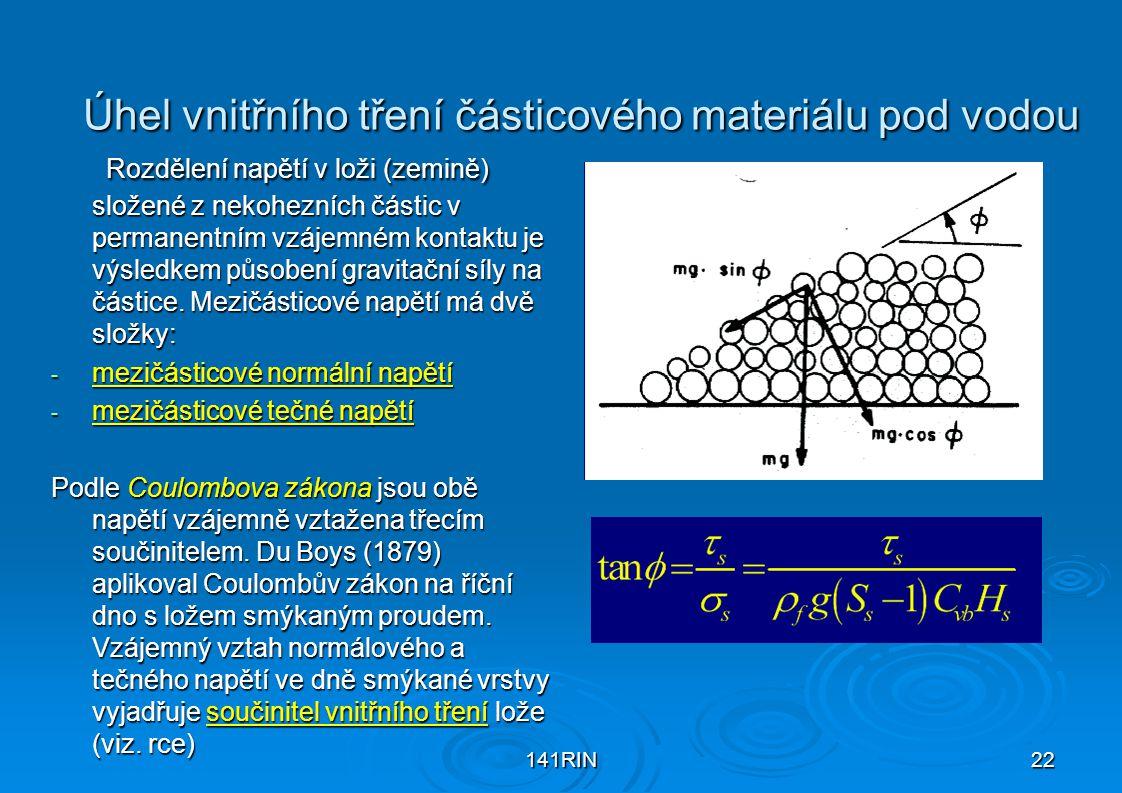 141RIN22 Úhel vnitřního tření částicového materiálu pod vodou Rozdělení napětí v loži (zemině) složené z nekohezních částic v permanentním vzájemném k