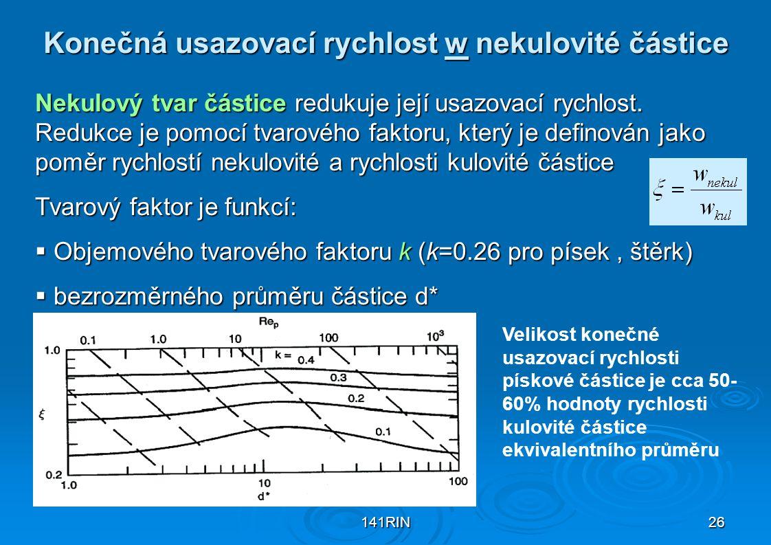 141RIN26 Konečná usazovací rychlost w nekulovité částice Nekulový tvar částice redukuje její usazovací rychlost. Redukce je pomocí tvarového faktoru,
