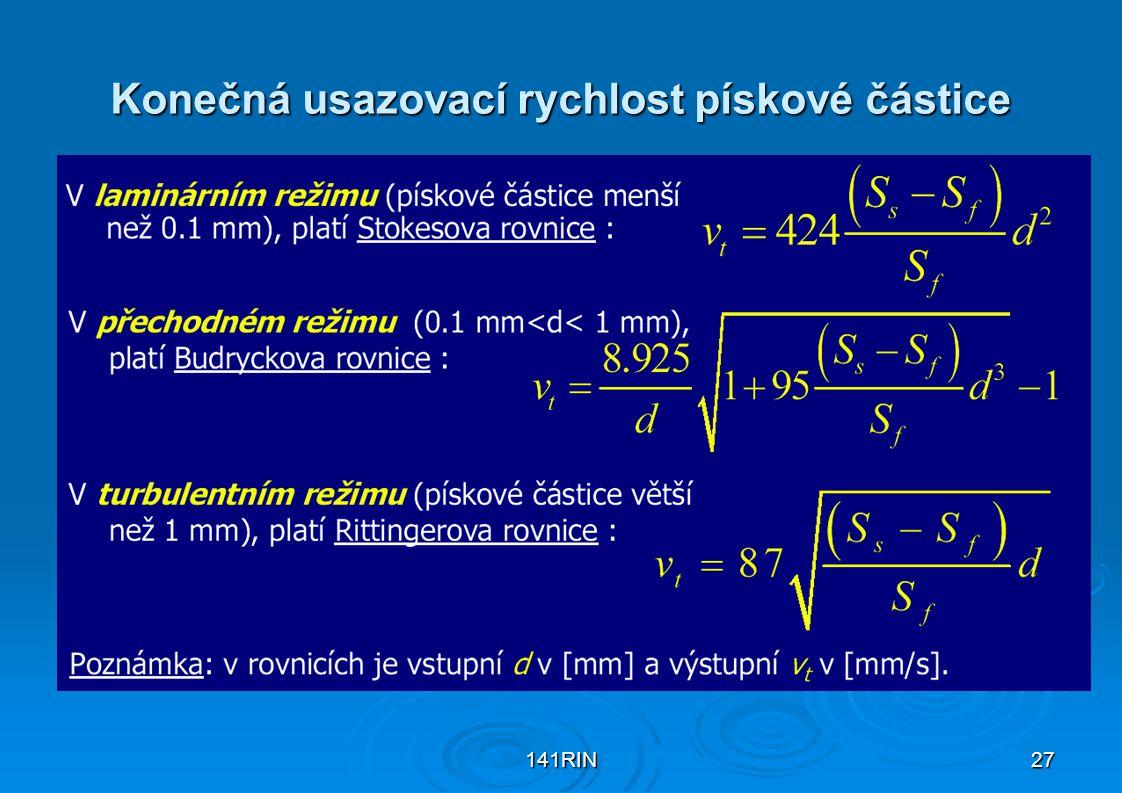 141RIN27 Konečná usazovací rychlost pískové částice