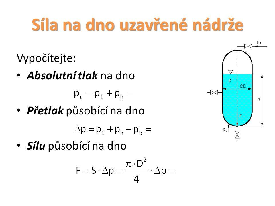 Opakování 1.Definice celkového tlaku na dno.2.Stanovení přetlaku na dno.