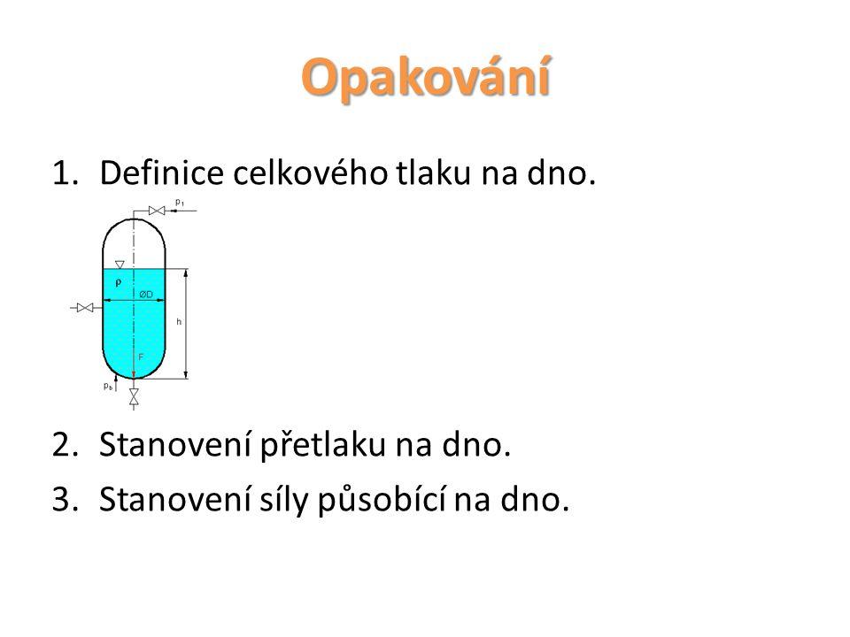 Opakování 1.Definice celkového tlaku na dno. 2.Stanovení přetlaku na dno. 3.Stanovení síly působící na dno.